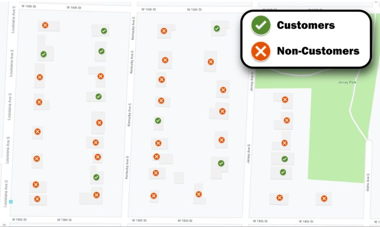 Neighborhood overview showing customers and noncustomers - capturing the online buyers