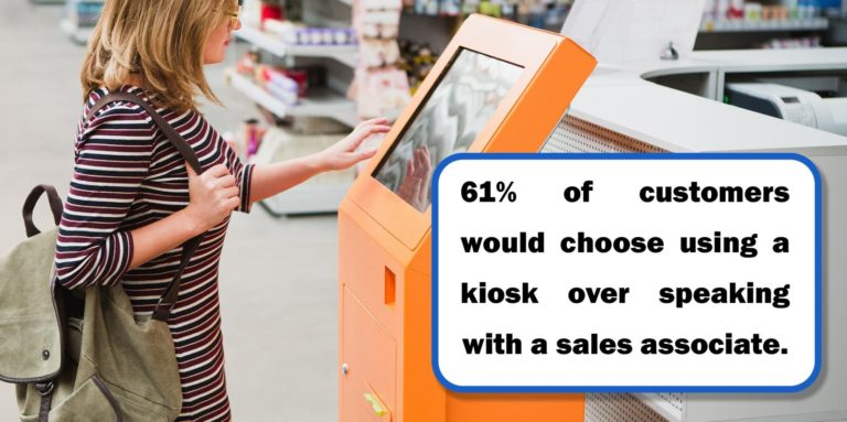 Sales and Marketing Best Practices - lady using a kiosk capturing the online buyers